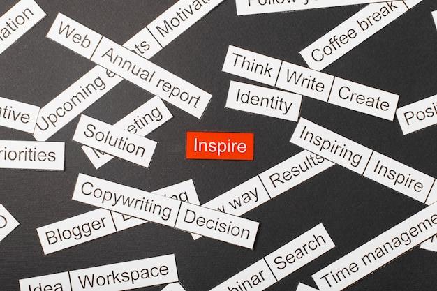 Napis inspiruje wycięty z papieru