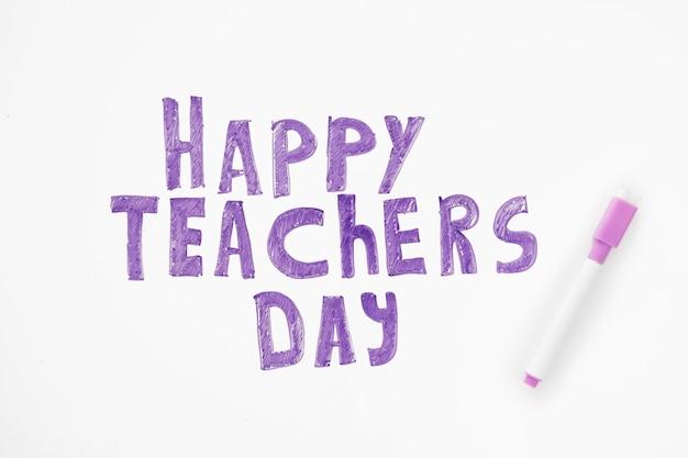 Napis koncepcja dnia szczęśliwego nauczyciela