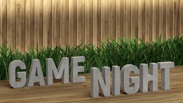Napis na plakacie game night. duże litery na drewnianym stole.