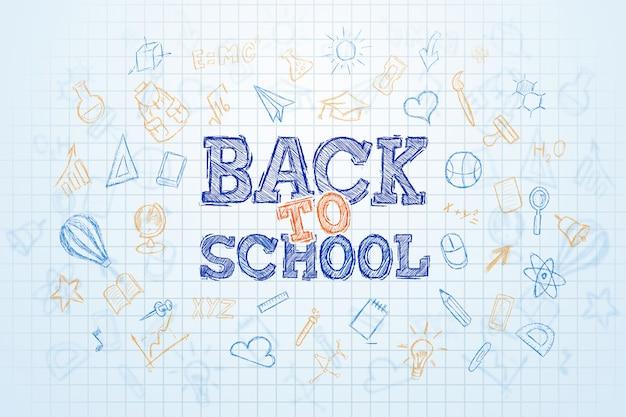 Napis powrót do szkoły, elementy edukacji