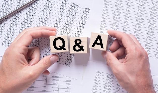 Napis qa, koncepcja pytań biznesowych i finansowych.
