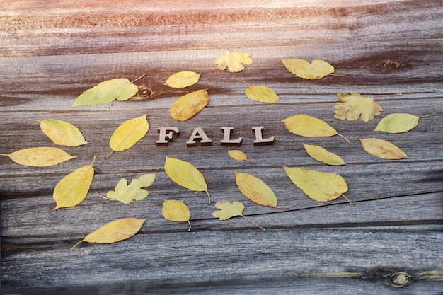 Napis spadnie na drewnianą deskę, żółte liście