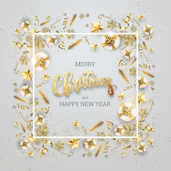 Napis wesołych świąt w złotej ramce świątecznych zabawek. pocztówka, ulotka, karta z zaproszeniem.