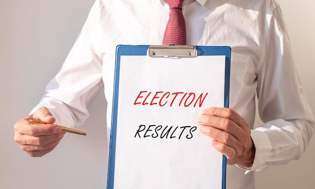 Napis wyników wyborów. podsumowanie ankiet. omówienie głosowania.