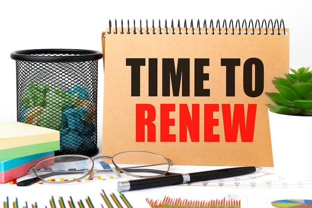 Napisz time to renew na notesie, wykresie, okularach.