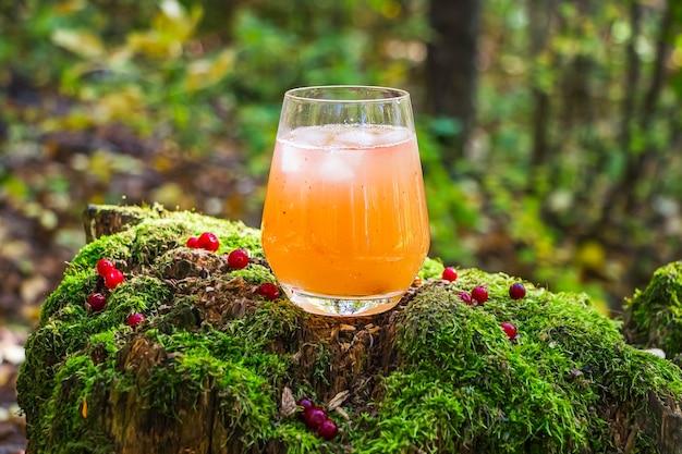 Napój morelowy ozdobiony czerwonymi jagodami w szklanych ścianach na drewnie z mchem. zimny żółty koktajl z kostkami lodu. malownicza martwa natura z letnim napojem alkoholowym