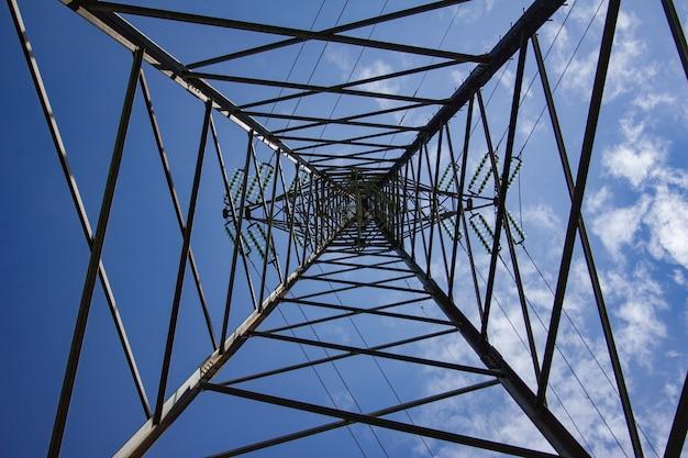 Napowietrzna linia energetyczna pod błękitnym niebem i światłem słonecznym