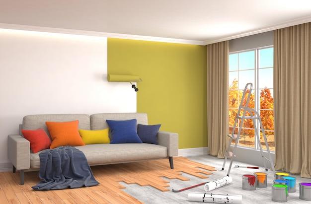 Naprawa i malowanie ścian w pokoju. ilustracja 3d.