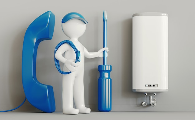 Naprawa kotła domowego. koncepcja pomocy lub konserwacji. ilustracja renderowania 3d