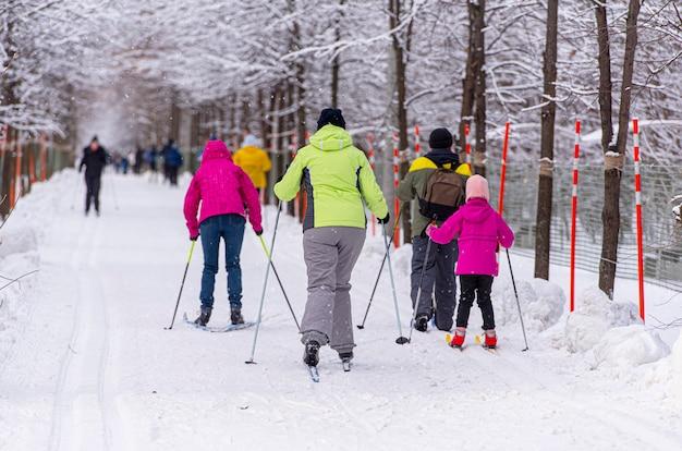 Narciarstwo rodzinne w publicznym parku podczas niesamowitego zimowego dnia