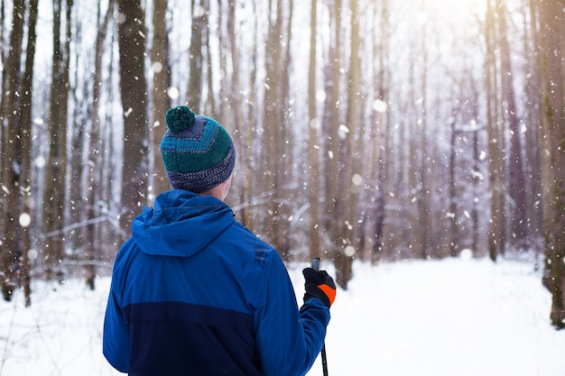 Narciarz w wiatrówce i czapce z pomponem z kijkami w rękach plecami na tle zaśnieżonego lasu. narciarstwo biegowe w zimowym lesie, sporty na świeżym powietrzu, zdrowy tryb życia.