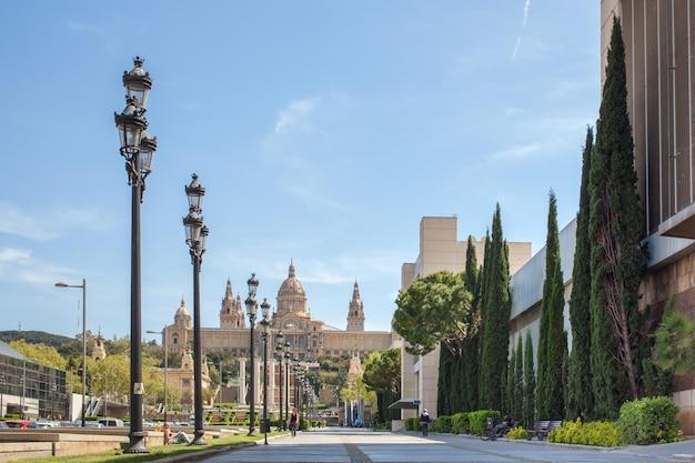 Narodowe muzeum katalońskiej sztuki wizualnej położone na wzgórzu montjuic w pobliżu placa de espanya w barcelonie