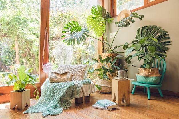 Narożnik pokoju ozdobiony roślinami