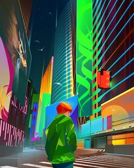 Narysowany jasny nocny pejzaż przyszłości w stylu cyberpunk