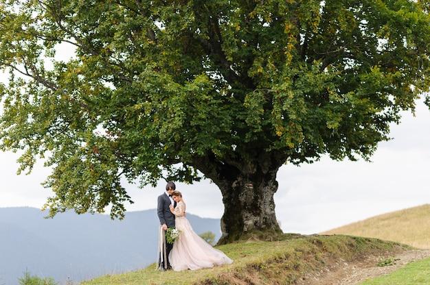 Narzeczeni tulą się pod starym dębem. ślubna sesja zdjęciowa w górach.