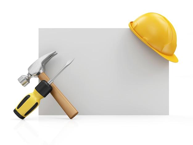Narzędzia Budowlane I Kask Na Pustej Tablicy Premium Zdjęcia