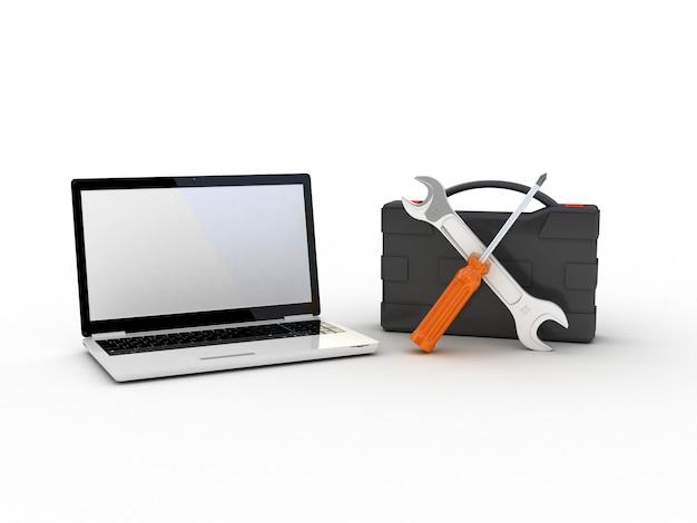 Narzędzia na laptopie. ilustracja 3d