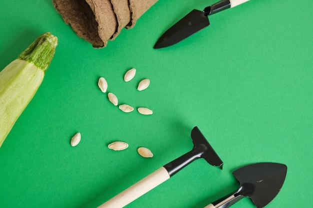 Narzędzia ogrodnicze na zielonym tle. małe łopatki i grabie do sadzenia sadzonek i roślin domowych, zmiana cukinii i cukinii na zielonym tle
