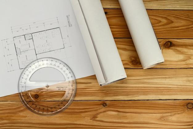 Narzędzie pomiarowe, kątomierz na plan, koncepcja architektoniczna