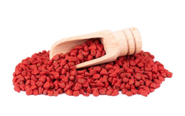 Nasiona annatto, w drewnianej łyżce, odizolowane. nasiona achiote, bixa orellana. naturalny barwnik do gotowania i jedzenia. zbliżenie.