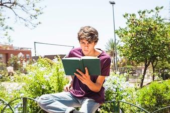 Nastolatka czytanie na ogrodzeniu w parku