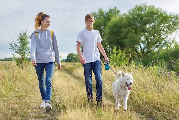 Nastolatki spacerują z białym psem na łące w słoneczny dzień, właściciele chłopiec i dziewczynka ze zwierzakiem na naturze