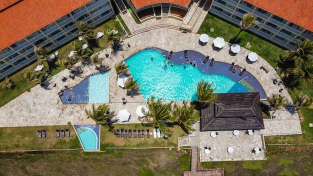 Natal, rio grande do norte, brazylia - 12 marca 2021: zdjęcie lotnicze hotelu aram praia marina