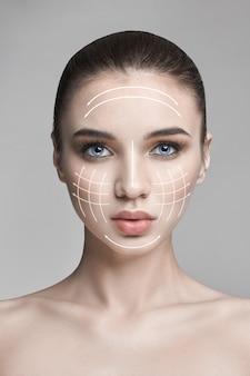 Natura czysta piękno skóry, pielęgnacja skóry piękna twarz, kobieta, makijaż, lifting liftingu, linia, masaż. kosmetyk natural spa, profesjonalna twarz z tworzywa sztucznego, seksowny model, przeciwzmarszczkowe kosmetyki, pielęgnacja skóry