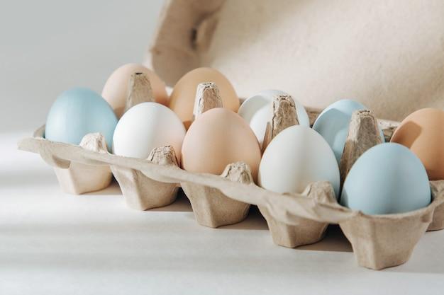 Naturalne kolorowe brązowe i białe jajka w pudełku na jajka z promieniami słonecznymi. kompozycje w pastelowych kolorach. koncepcja wielkanocy.