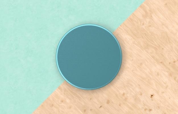 Naturalne puste zielone pudełko cylindra na tle duotone z teksturą drewna na wyświetlaczu produktu. minimalna koncepcja wiosna lato. leżał płasko. widok z góry.