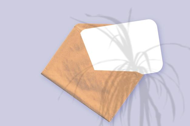 Naturalne światło rzuca cienie z rośliny na kopertę z kartką białego papieru leżącą na fioletowym tle z teksturą