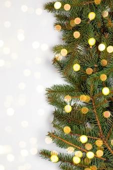 Naturalne świeże zielone sosnowe gałęzie choinki z lampkami bokeh