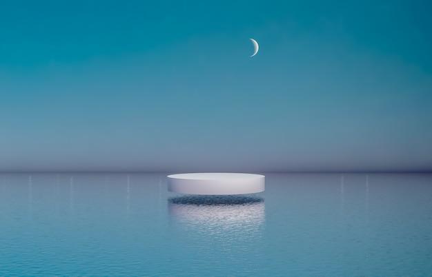 Naturalne tło podium z cylindrycznym pudełkiem do prezentacji produktów kosmetycznych.