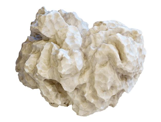 Naturalny biały alabaster gipsowy samorodek na białym tle