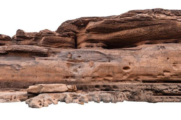 Naturalny duży skalisty kanion w wąwozie na białym tle