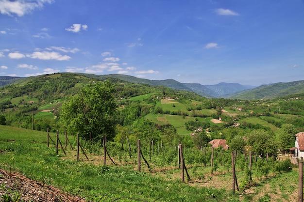 Naturalny krajobraz z górami i dolinami