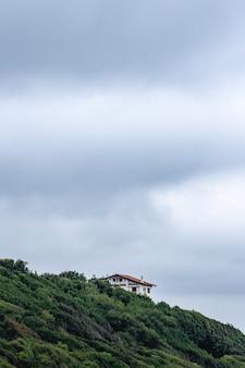 Naturalny krajobraz z wiejskim domem w pochmurny dzień