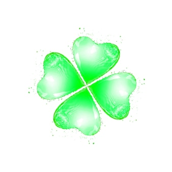 Naturalny liść koniczyny w kształcie świeżego pluska z kropelkami na białym tle z kopią miejsca. koncepcja happy st patrick's day.