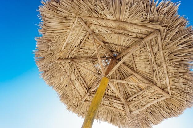 Naturalny palmowy parasol plażowy z niebieskim niebem
