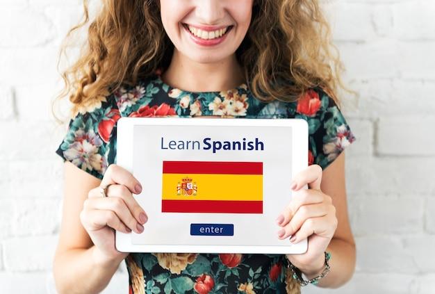 Naucz się języka hiszpańskiego online koncepcja edukacji