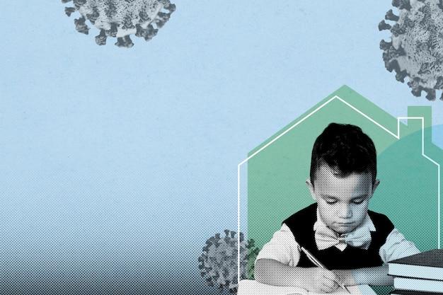 Nauczanie domowe małego chłopca podczas pandemii koronawirusa