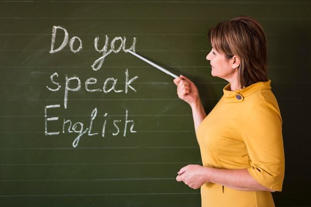 Nauczyciel z boku wyjaśniający przy tablicy