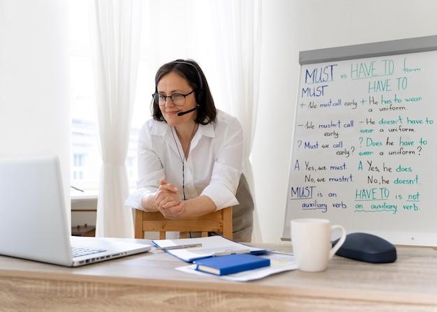 Nauczycielka robi lekcje angielskiego z tablicą