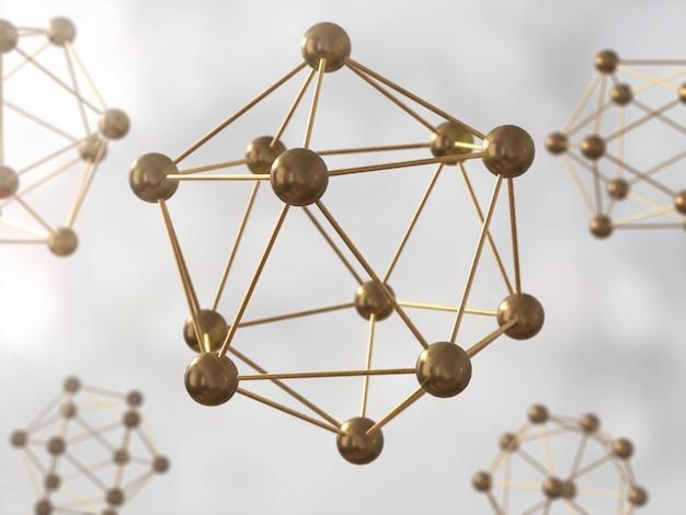 Nauka atom molekularna struktura modelu dna, złoty atom. renderowanie 3d