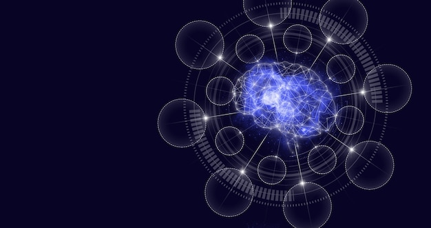 Nauka i technologia sztucznej inteligencji, innowacja i futurystyka. technologia wirtualnej rzeczywistości lub sztucznej inteligencji mózgu