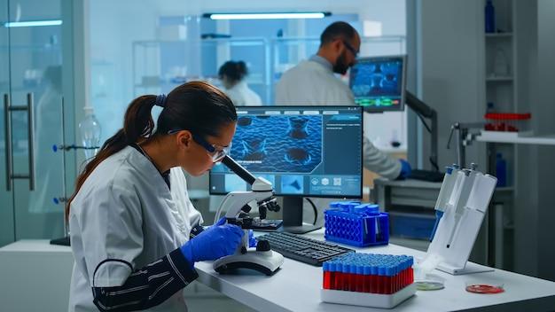 Naukowiec medyczny przeprowadzający eksperymenty dna pod mikroskopem w wyposażonym laboratorium. zespół lekarzy chemików badających ewolucję wirusa przy użyciu zaawansowanej technologii do opracowywania szczepionek przeciwko covid19