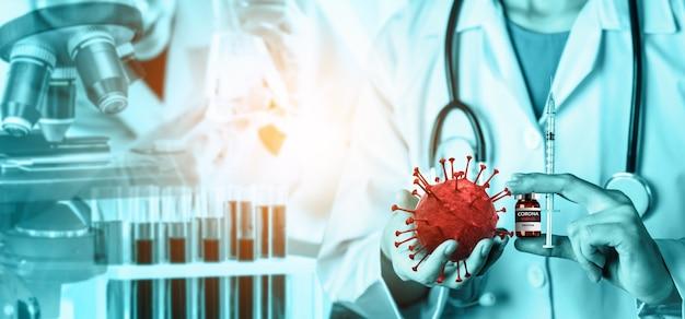 Naukowiec w laboratorium badania szczepionki na koronawirusa covid 19