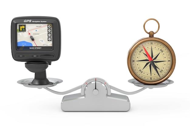 Nawigacja i globalny system pozycjonowania urządzenie gps z mapą miasta na ekranie i brązowym kompasem vintage z równoważeniem róży wiatrów na prostej skali ważenia na białym tle. renderowanie 3d
