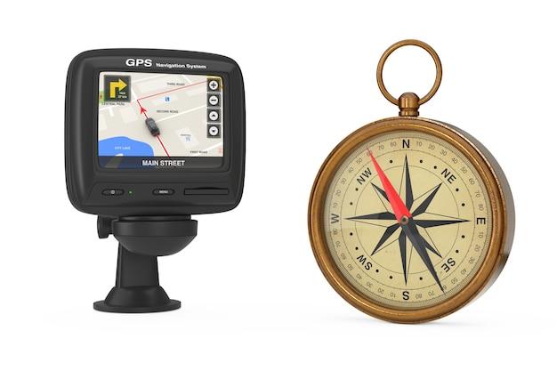 Nawigacja i globalny system pozycjonowania urządzenie gps z nawigacją mapa miasta na ekranie w pobliżu błyszczącego brązu vintage kompas z różą wiatrów na białym tle. renderowanie 3d