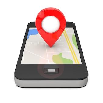 Nawigacja przez smartfon. wskaźnik lokalizacji na telefon z mapą na białym tle. renderowanie 3d